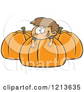 Cartoon Of A Happy Caucasian Boy Resting On A Large Pumpkin Royalty Free Vector Clipart