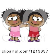 Cartoon Of A Two Cute Happy Black Girls Standing Together Royalty Free Vector Clipart