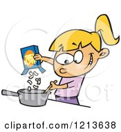Cartoon Of A Caucasian Girl Making Macaroni And Cheese Royalty Free Vector Clipart by toonaday