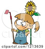Cartoon Of A Happy Caucasian Girl Standing With A Gardening Hoe By A Sunflower Royalty Free Vector Clipart