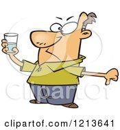 Cartoon Of A Pessimistic Man Holding A Glass And Seeing It As Half Full Royalty Free Vector Clipart