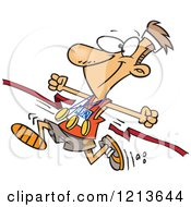 Cartoon Of A Athletic Marathon Runner Breaking Through A Finish Line With Multiple Medals Royalty Free Vector Clipart