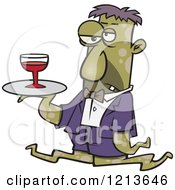 Cartoon Of A Gross Tentacled Monster Waiter With Wine On A Tray Royalty Free Vector Clipart by toonaday