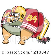 Cartoon Of A Huge American Football Lineman Player Royalty Free Vector Clipart