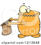 Cartoon Of An Orange Halloween Monster Trick Or Treating Royalty Free Vector Clipart