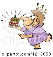 Cartoon Of A Caucasian Sandwich Queen Woman Wearing A Crown Royalty Free Vector Clipart by toonaday