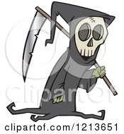Cartoon Of A Grim Reaper Carrying A Scythe Over His Shoulder Royalty Free Vector Clipart by toonaday
