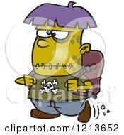 Cartoon Of A Frankenstein Kid Walking To School Royalty Free Vector Clipart by toonaday