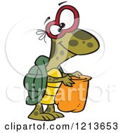 Cartoon Of A Halloween Turtle Trick Or Treating Royalty Free Vector Clipart