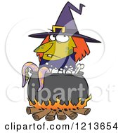 Cartoon Of A Witch By A Boiling Cauldron With Tentacles Royalty Free Vector Clipart