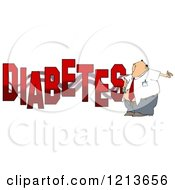 Cartoon Of A Man Giving Himself An Insulin Shot By The Word DIABETES Royalty Free Clipart