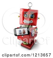 Clipart Of A 3d Red Vintage Robot Holding Up A Smart Phone With A Picture On The Screen Royalty Free CGI Illustration