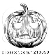 Clipart Of A Black And White Carved Halloween Woodcut Jackolantern Pumpkin Royalty Free Vector Illustration