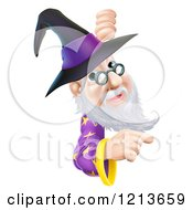 Cartoon Of A Happy Gray Bearded Wizard Wearing Glasses And A Witch Style Hat Pointing And Looking Around A Sign Royalty Free Vector Clipart