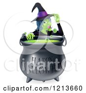 Cartoon Of A Witch Touching Her Hat From Behind A Boiling Happy Halloween Cauldron Royalty Free Vector Clipart by AtStockIllustration
