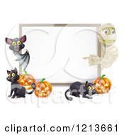Cartoon Of A Halloween Mummy And Bat Pointing To A White Board Sign With Pumpkins And Black Cats Royalty Free Vector Clipart by AtStockIllustration