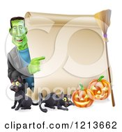 Cartoon Of A Happy Frankenstein Pointing To A Scroll Sign With A Broomstick Black Cats And Halloween Pumpkins Royalty Free Vector Clipart by AtStockIllustration