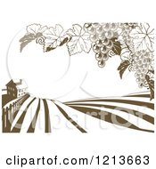 Clipart Of A Farm House And Rolling Hills With Winery Grape Vines In Brown And White Royalty Free Vector Illustration