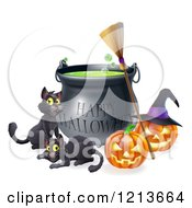 Cartoon Of A Happy Halloween Cauldron With Black Cats A Broomstick And Jackolanterns Royalty Free Vector Clipart by AtStockIllustration