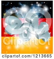 Clipart Of A 3d 2014 And Fireworks Over A German Flag Royalty Free Vector Illustration