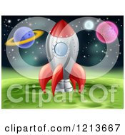 Clipart Of A Space Shuttle Rocket Resting On A Green Planet Royalty Free Vector Illustration