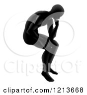 Clipart Of A Gradeint Black Silhouetted Man In Thought Royalty Free Vector Illustration