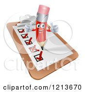 Cartoon Of A Happy Red Pencil Mascot Holding Two Thumb Up On A Check List Clipboard Royalty Free Vector Clipart