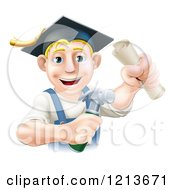 Cartoon Of A Happy Graduate Worker Man Holding A Hammer And Degree And Wearing A Mortar Board Royalty Free Vector Clipart