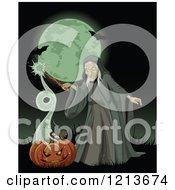 Cartoon Of A Witch Conjuring A Magic Spell From A Halloween Pumpkin Against A Full Moon With Bats Royalty Free Vector Clipart by Pushkin
