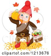Cartoon Of A Happy Autumn Gnome Carrying A Pumpkin And Basket Of Produce Through Fallen Leaves Royalty Free Vector Clipart by Pushkin
