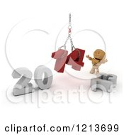 Clipart Of A 3d Box Boy Assembling New Year 2014 Numbers Together With A Hoist Royalty Free CGI Illustration