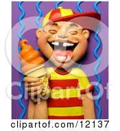 Clay Sculpture Clipart 3d Boy With Missing Teeth Smiling And Holding An Orange Ice Cream Cone Royalty Free 3d Illustration
