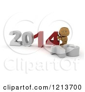 Clipart Of A 3d Box Boy Pushing New Year 2014 Numbers Together By A Knocked Down 13 Royalty Free CGI Illustration by KJ Pargeter