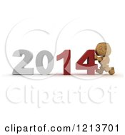 Clipart Of A 3d Box Boy Pushing New Year 2014 Numbers Together Royalty Free CGI Illustration by KJ Pargeter