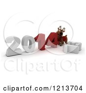 Clipart Of A 3d Reindeer Pushing New Year 2014 Together By A Knocked Down 13 Royalty Free CGI Illustration