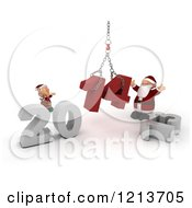 Clipart Of A 3d Santa And Elf Assembling New Year 2014 With A Hoist Royalty Free CGI Illustration