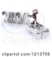 Clipart Of A 3d Red Android Robot Pushing New Year 2014 Together By A Knocked Down 13 Royalty Free CGI Illustration
