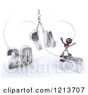 Clipart Of A 3d Red Android Robot Assembling New Year 2014 With A Hoist Royalty Free CGI Illustration