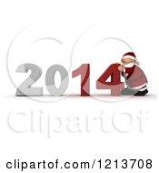 Clipart Of A 3d Santa Pushing New Year 2014 Together Royalty Free CGI Illustration