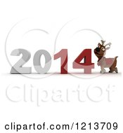 Clipart Of A 3d Reindeer By New Year 2014 Royalty Free CGI Illustration