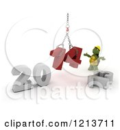 Clipart Of A 3d Construction Tortoise Assembling New Year 2014 With A Hoist Royalty Free CGI Illustration