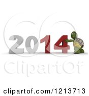 3d Tortoise Pushing New Year 2014 Together