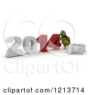 3d Tortoise Pushing New Year 2014 Together By A Knocked Down 13