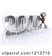 Clipart Of A 3d Red Android Robot Pushing New Year 2014 Together Royalty Free CGI Illustration