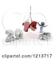 Clipart Of A 3d Robot Assembling New Year 2014 With A Hoist Royalty Free CGI Illustration
