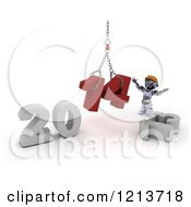 Clipart Of A 3d Construction Robot Assembling New Year 2014 With A Hoist Royalty Free CGI Illustration