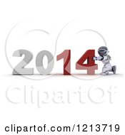 Clipart Of A 3d Robot Pushing New Year 2014 Together Royalty Free CGI Illustration