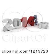 Clipart Of A 3d Robot Pushing New Year 2014 Together Over A Knocked Down 13 Royalty Free CGI Illustration