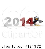 Clipart Of A 3d Penguin Pushing New Year 2014 Together Royalty Free CGI Illustration by KJ Pargeter