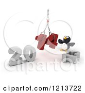 Clipart Of A 3d Penguin Assembling New Year 2014 With A Hoist Royalty Free CGI Illustration